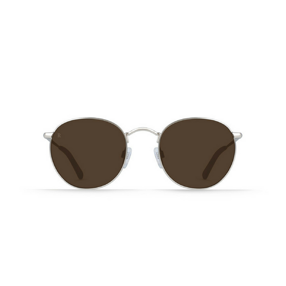 Raen Optics Silver & Burlwood Benson Sunglasses