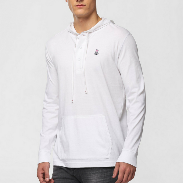 Bunny Placket Hoodie - White