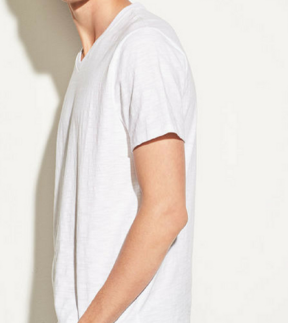 Vince Optic White Slub V Neck Tee