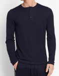 Rib Knit Henley - Coastal Blue