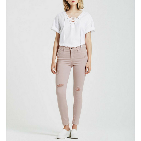 AG Pale Pink The Farrah Skinny Ankle Pant