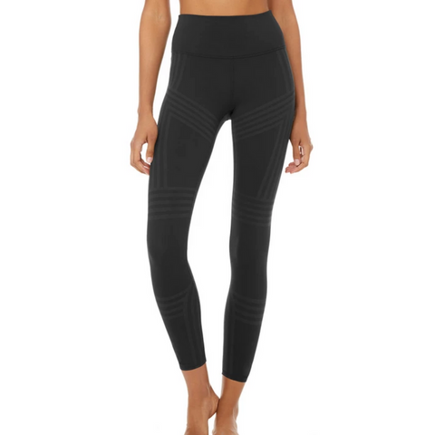 ALO Black 7/8 High-Waist Channel Leggings