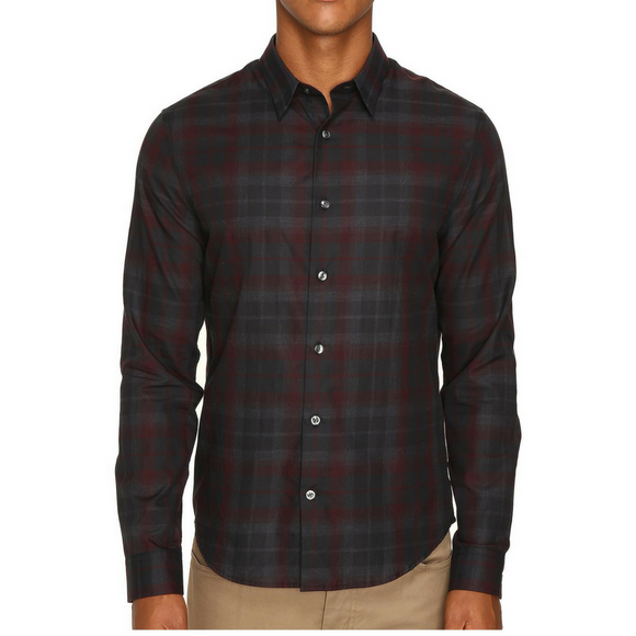 Vince Red Multicolored Plan Manhattan Shirt