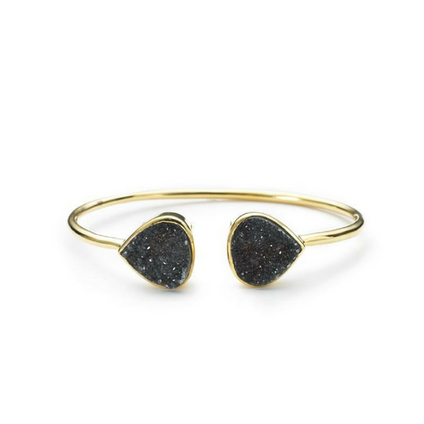 ME - Teardrop Bangle - Black Druzy