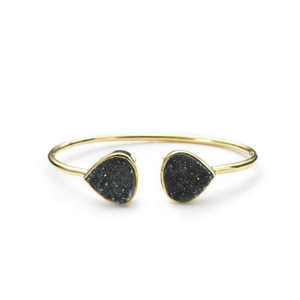 Teardrop Bangle - Black Druzy