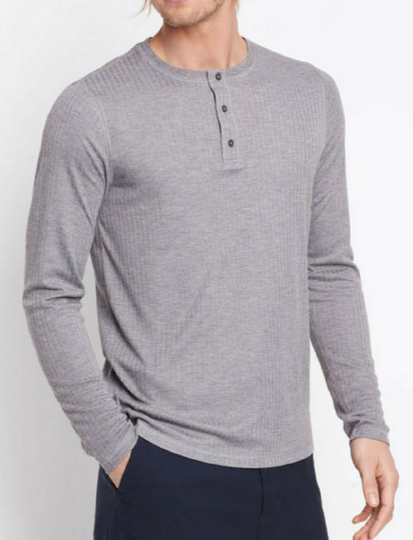 Vince Rib Knit Henley - Heather Cinder