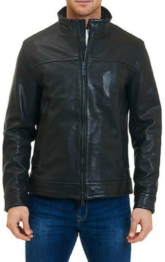Robert Graham Black Napoleon Leather Jacket