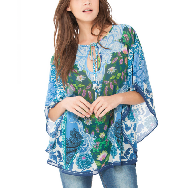 Poncho Top - Blue