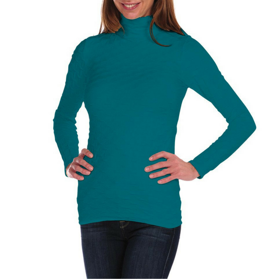Lattice Mock Neck - Glacier Teal