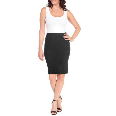Tees by Tina Lattice Pencil Skirt - Black