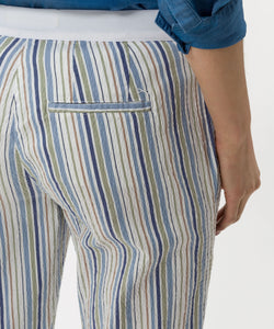 Brax - Maron Slim, Pull On, Striped Chino Pant - Blue, Khaki, White