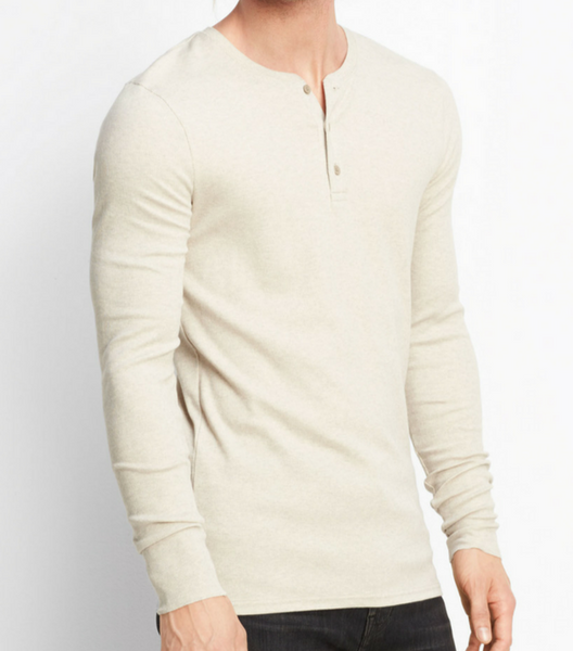 Rib Knit Henley - Heather Dark Stone