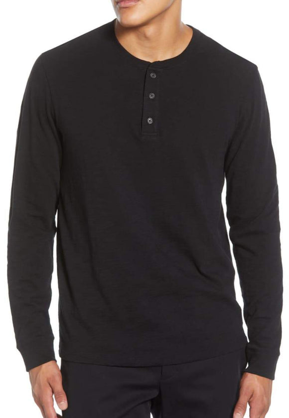 Vince Black Long Sleeve Slub Henley