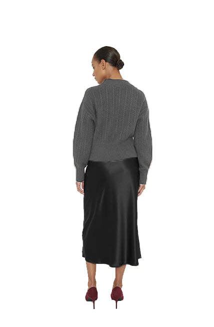 Maison de Papillon Gunmetal Arlo Cable Knit Sweater