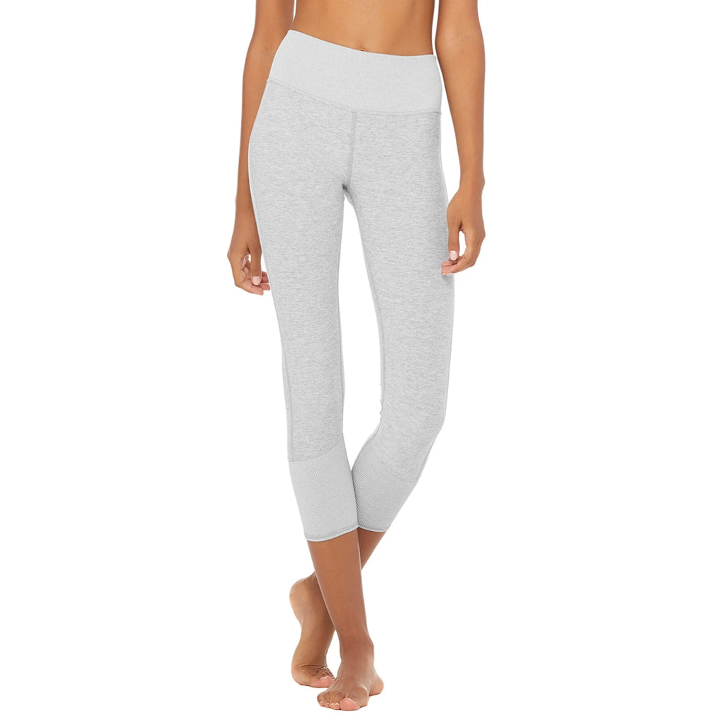 Alo Yoga 7/8 Length High-Waist Alosoft Legging Zinc Grey front view