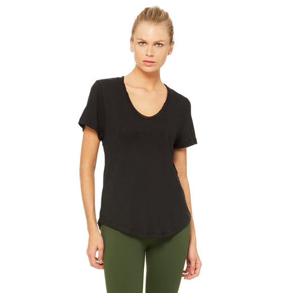Alo Yoga Playa Tee Shirt in Black, front