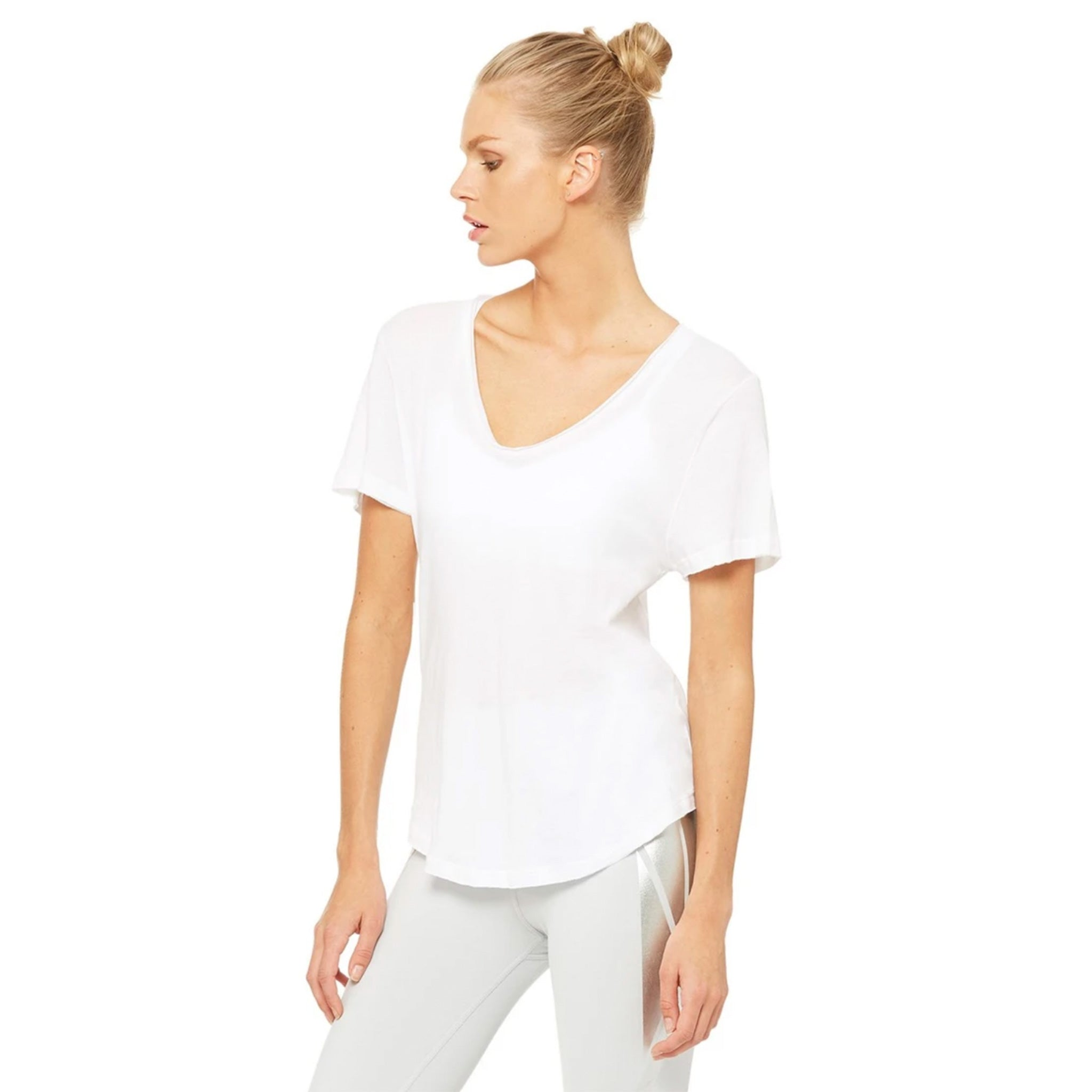 Alo Yoga Playa Tee Shirt in White side view