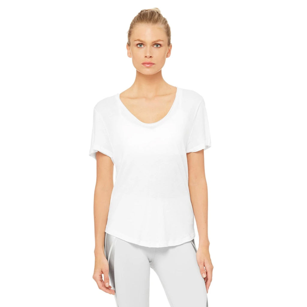 Alo Yoga Playa Tee Shirt in White front view