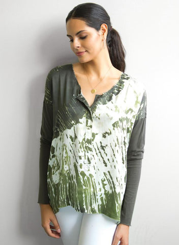 GO Silk - Olive Go Lux Henley Print Top