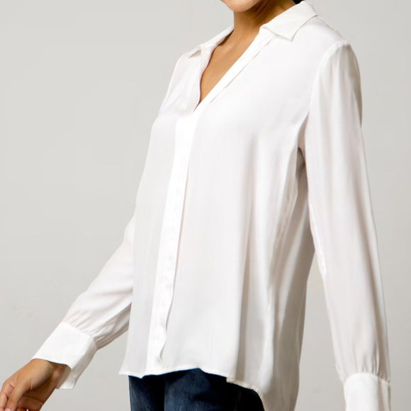 Go Silk White Frame Your Face Blouse
