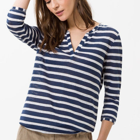 BRAX Claire Linen Shirt 3/4 Sleeve Indigo Stripes