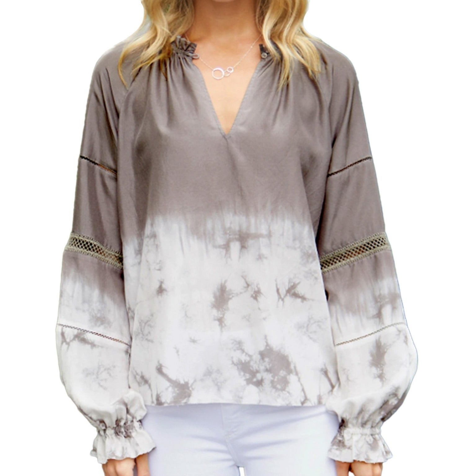 A tie dyed silk top, in a warm suede to white ombre effect by Go Silk.