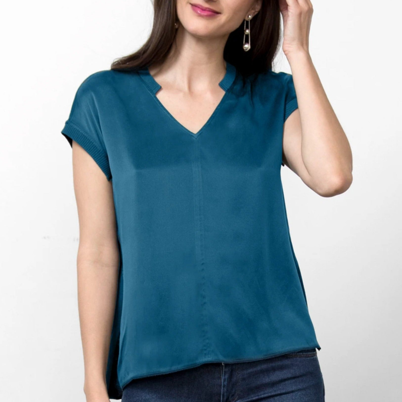 Go Silk ICONIC AnyTime Tee in Azure Blue