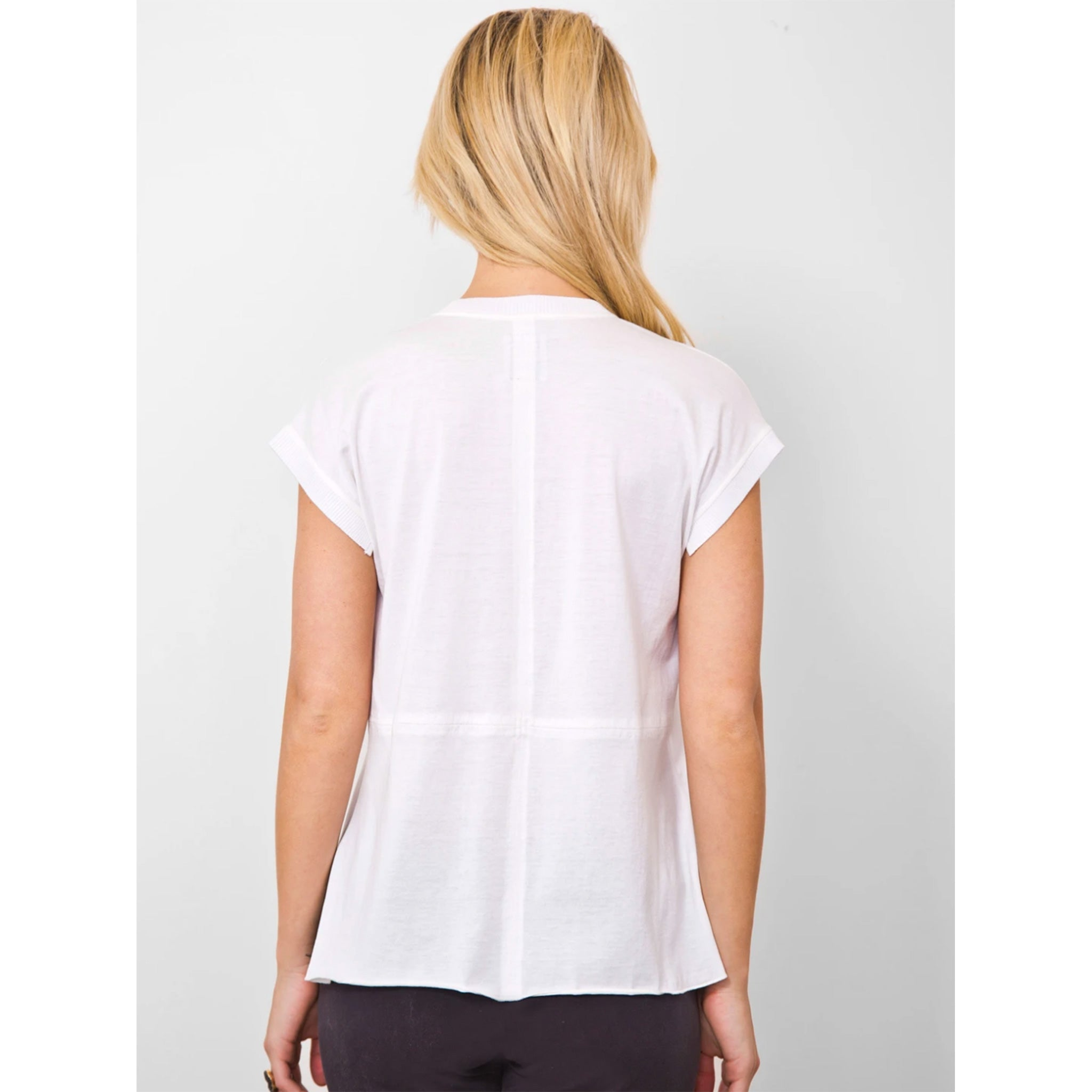 Go Silk ICONIC AnyTime Tee Shirt in White, back of shirt