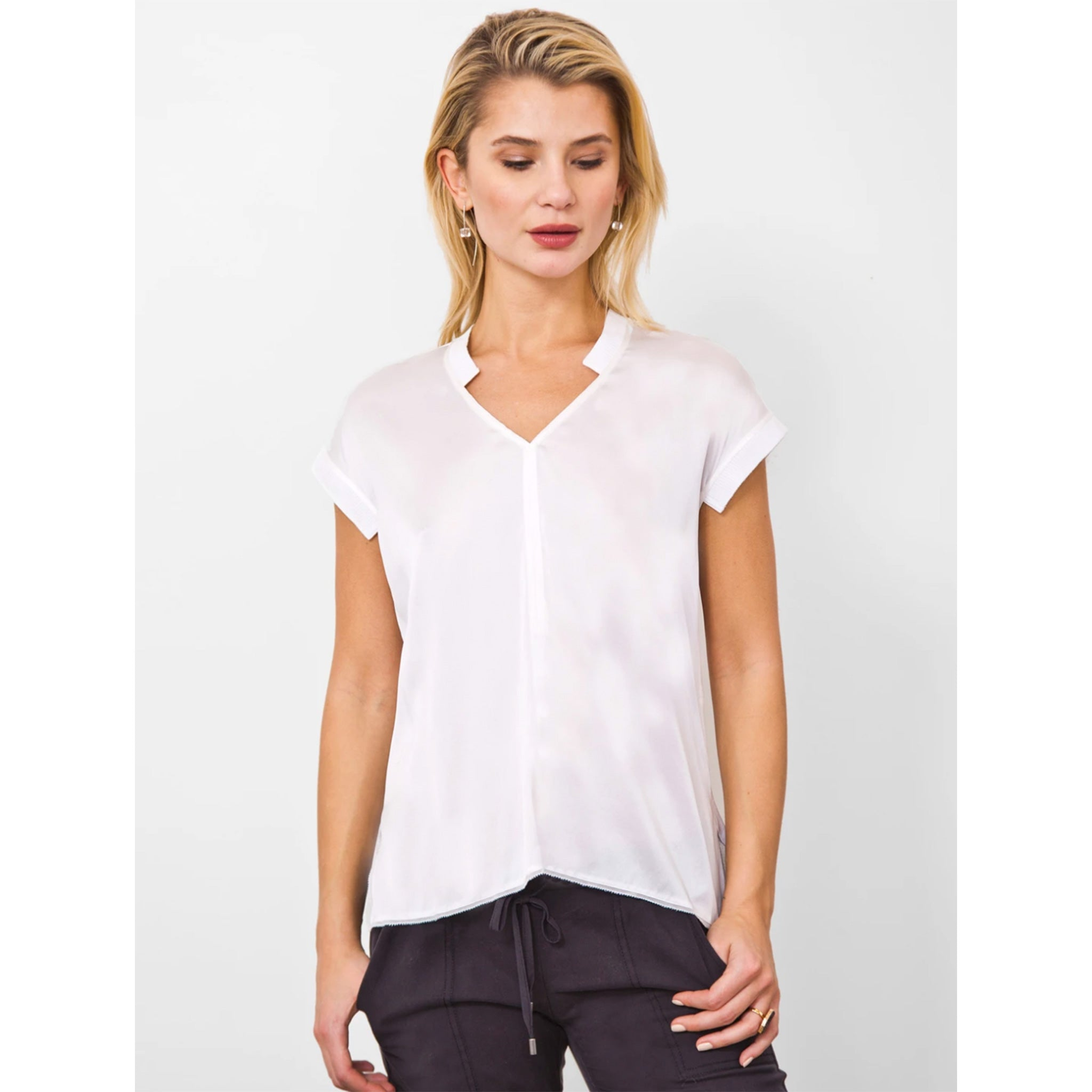 Go Silk ICONIC AnyTime Tee Shirt in White, front of shirt