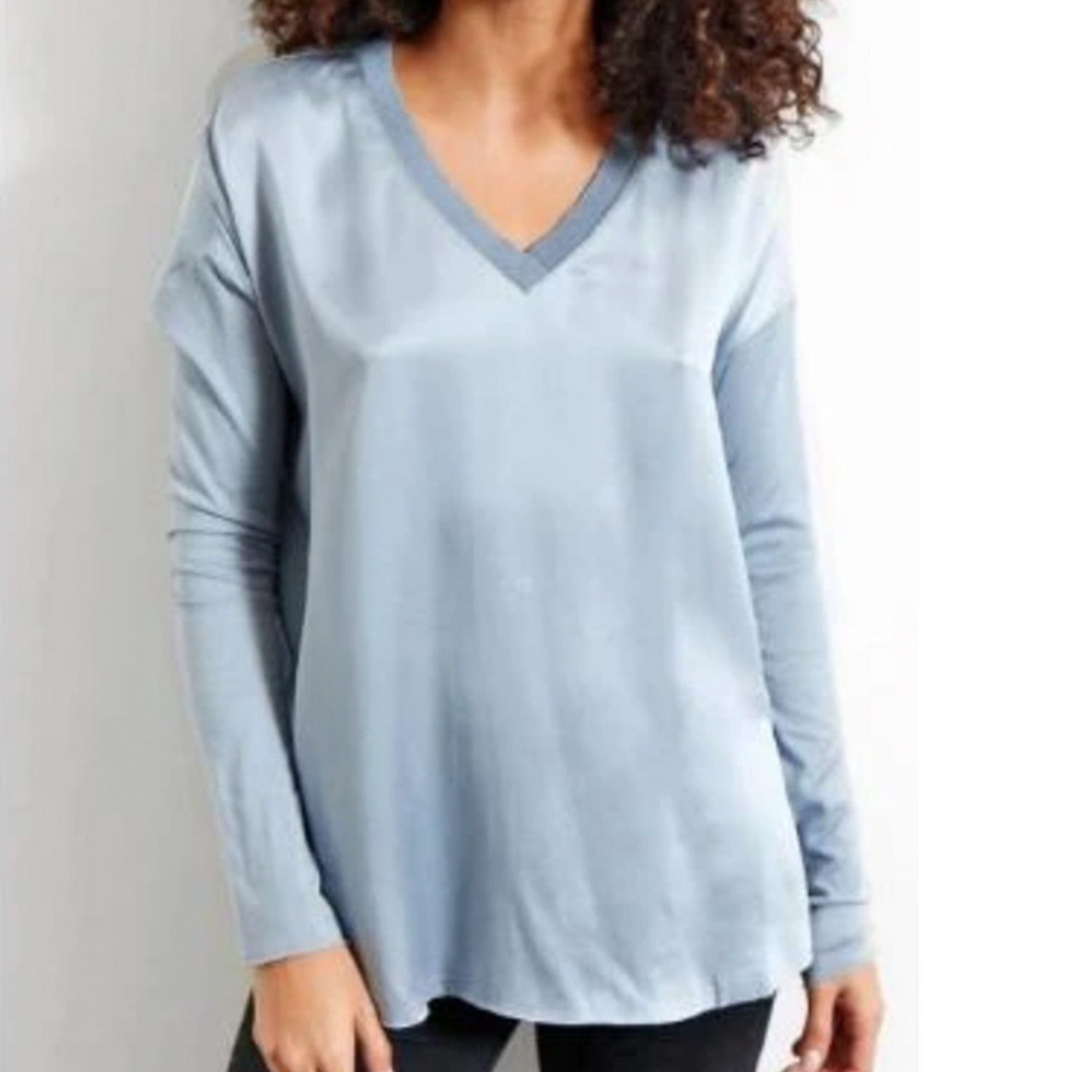 "Go Silk ""ICONIC Go Tee Vee Top"" Long Sleeve Silk Shirt in Chambray Blue style T820 front of shirt"
