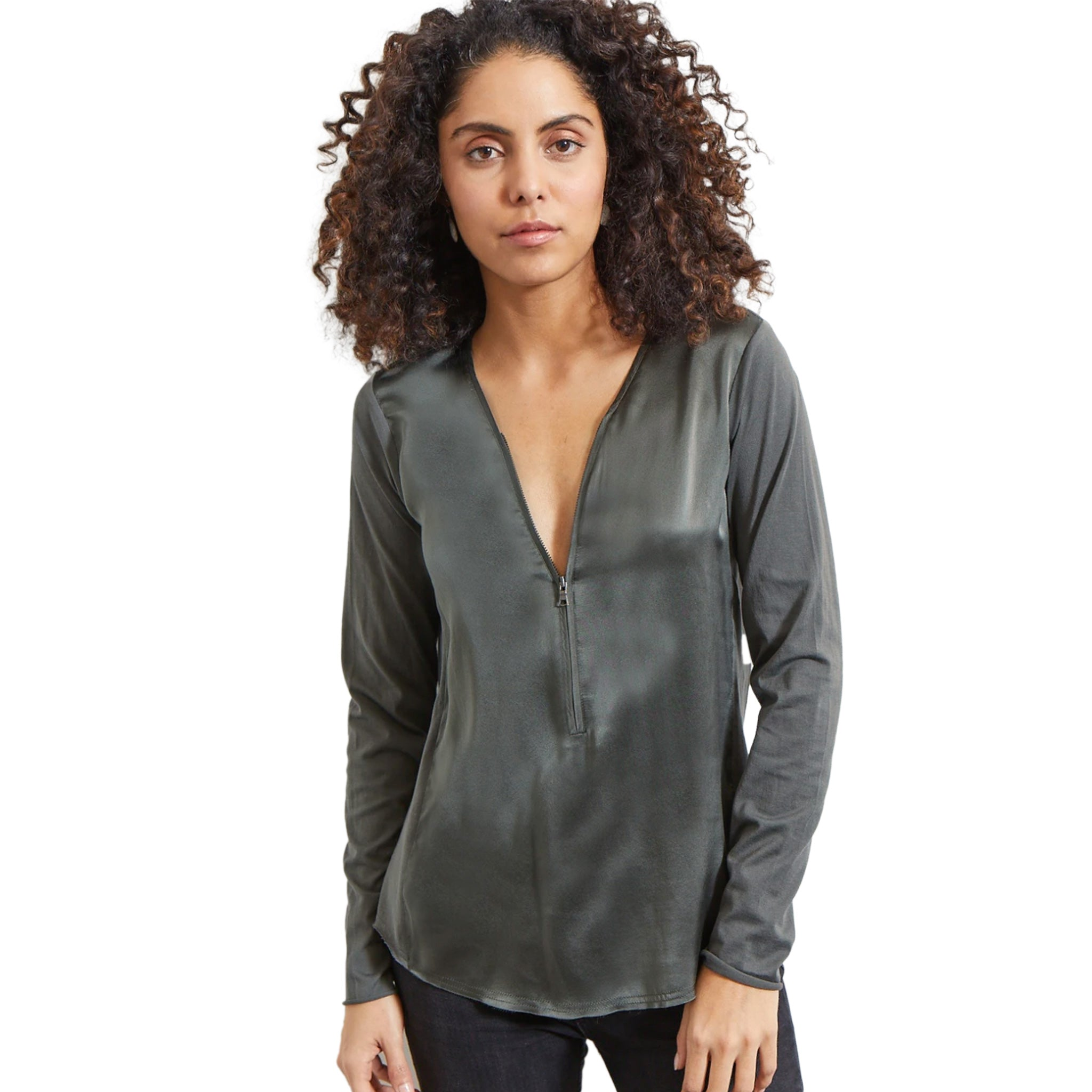 Go Silk - ICONIC Go Zippy Redux - Smoke Colored Silk Top