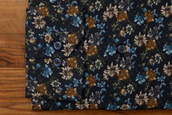 Hagen Navy Floral Button Down Sport Shirt