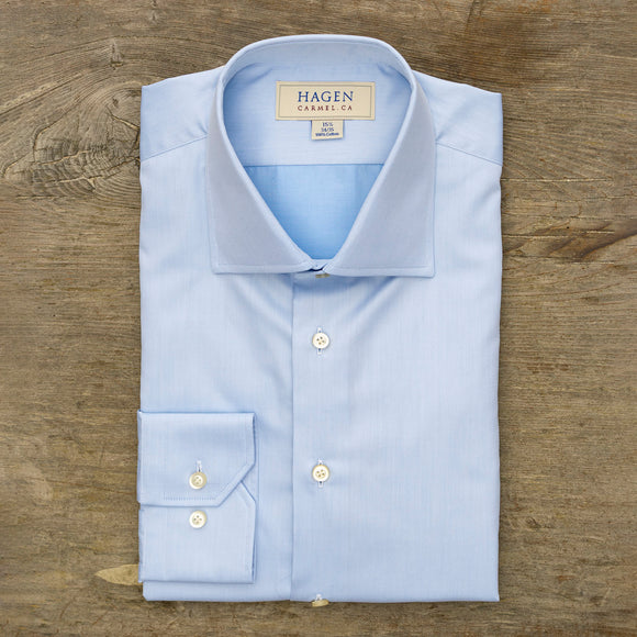 Hagen Blue Super Fine Twill Dress Shirt