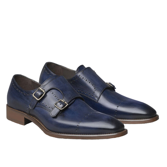 Johnston & Murphy Navy Italian Calfskin Reece Double-Buckle Monk Strap Mens Shoes
