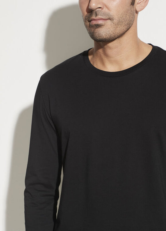 Vince Black Pima Cotton Long Sleeve Crew Neck Pullover