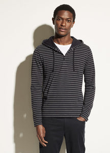 Vince Coastal & White Striped Hooded Henley