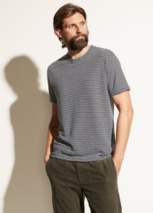 Vince Coastal Heather Grey Linen Cotton Stripe Crew