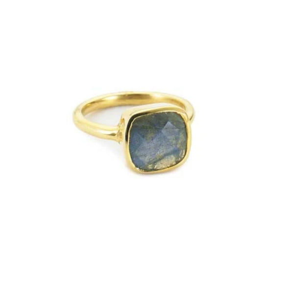Margaret Elizabeth Cushion Cut Labradorite & Gold Ring