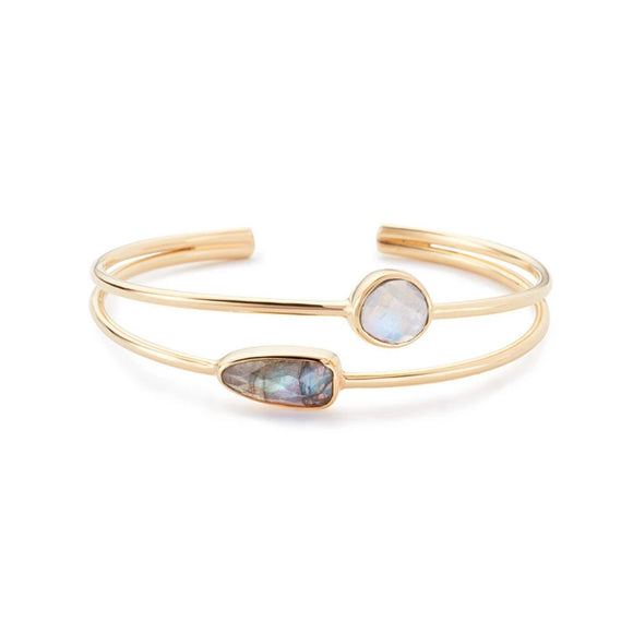 Margaret Elizabeth Labradorite & Moonstone Stinson Gold Bangle Bracelet