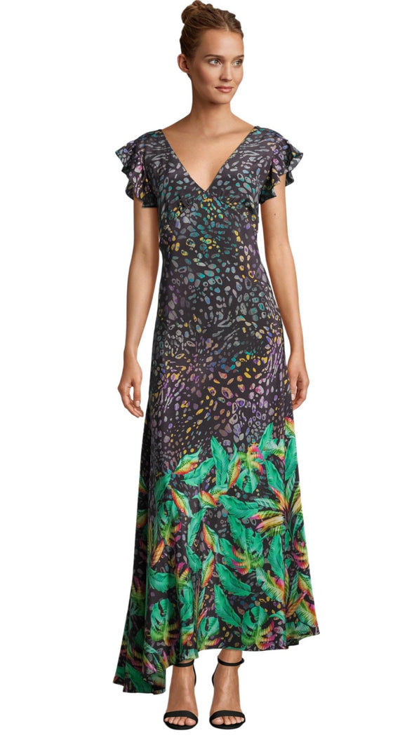 Robert Graham Leighton Leopard Botanical Printed Silk Dress