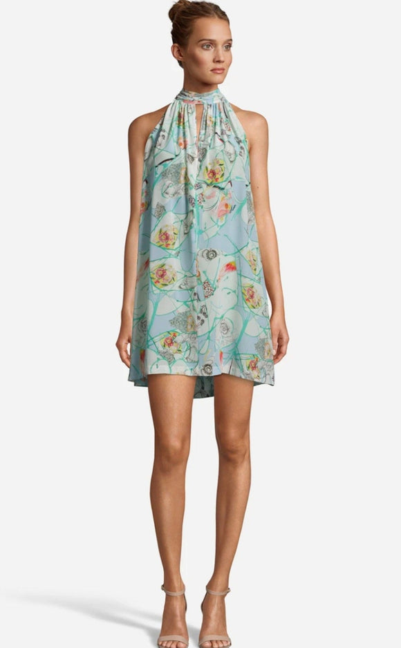 Robert Graham Amelia Multi-Colored Silk Floral Cocktail Dress WS20632 front of dress
