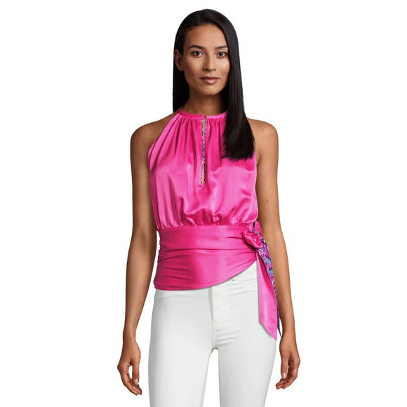 Robert Graham - Ava - Hot Pink Silk Halter Blouse