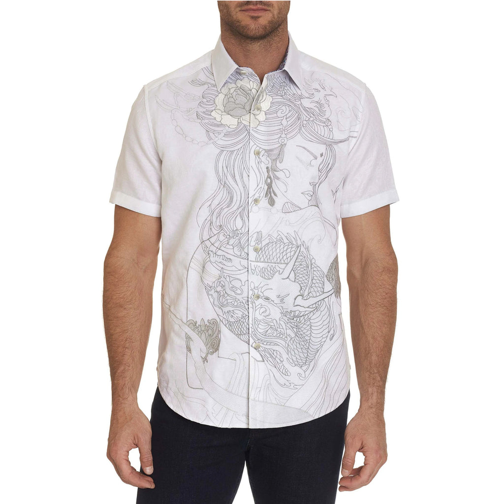 Robert Graham Eastern Beauty 100% cotton short sleeve jacquard shirt with rich embroidery of a dragon-tattooed woman. Flip the cuff for a watercolor geo tile print.