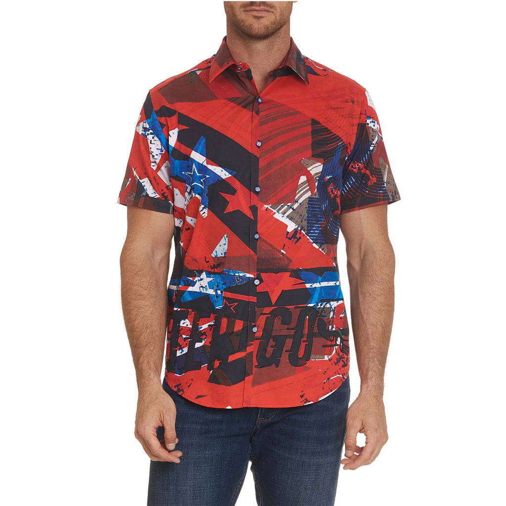 Robert Graham Go Faster Short Sleeve Shirt is mostly bright red with blue and white stars and some black