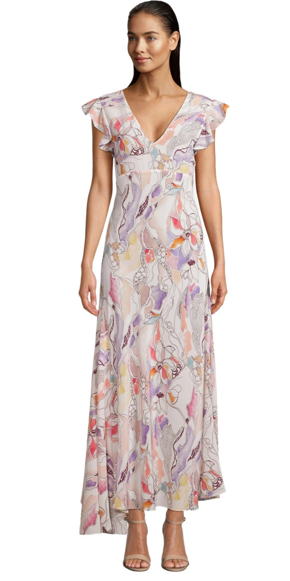 Robert Graham Leighton Romantic Floral Printed Silk Dress
