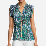 "Robert Graham ""Thelma"" Mulit-Colored Zebra Print, Short Sleeve Blouse style WS20220 front of blouse"