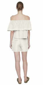 Load image into Gallery viewer, Maison de Papillon Blanc Demi Ruffled Off The Shoulder Blouse