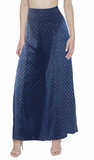 Maison de Papillon Deep Blue Davi Gold Embellished Wide Leg Pant