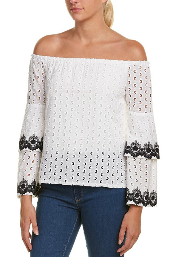 Bailey 44 Chalk Phlox Tiered Bell Sleeve Top