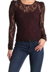 Bailey 44 Currant Jenna Lace Top